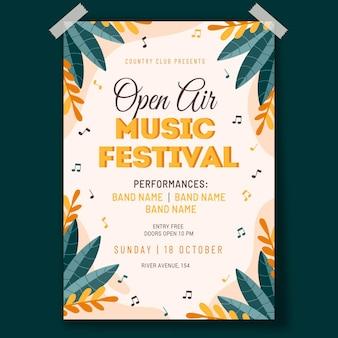 Modello di manifesto del festival di musica all'aperto