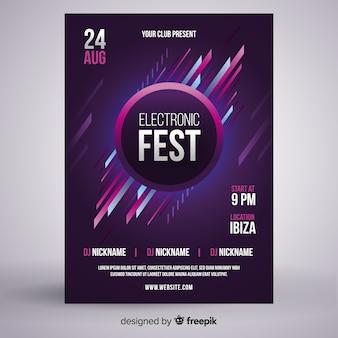 Modello di manifesto del festival di musica elettronica
