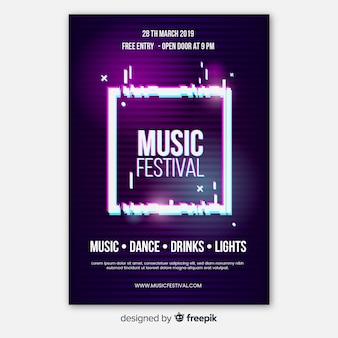 Modello di manifesto del festival di musica glitch