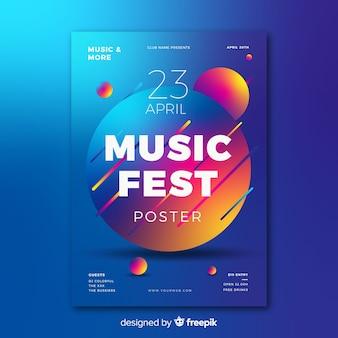Modello di manifesto del festival di musica gradiente