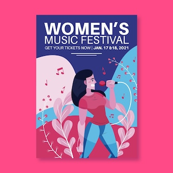 Modello di manifesto del festival musicale illustrato