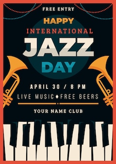 Modello di manifesto del giorno del jazz internazionale design piatto