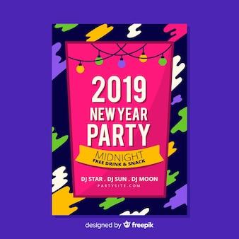 Modello di manifesto del nuovo anno di macchie colorate