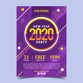 Modello di manifesto del partito design piatto capodanno 2020