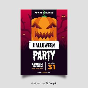 Modello di manifesto del partito di halloween design piatto