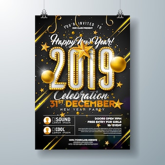 Modello di manifesto del partito di nuovo anno 2019 con il numero della lampadina delle luci