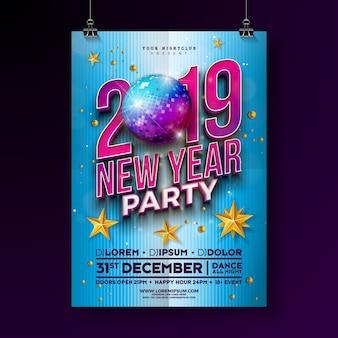 Modello di manifesto del partito di nuovo anno 2019 con la palla della discoteca