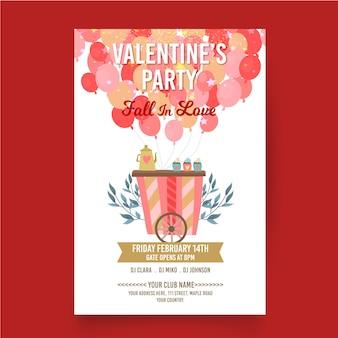 Modello di manifesto del partito di san valentino design piatto