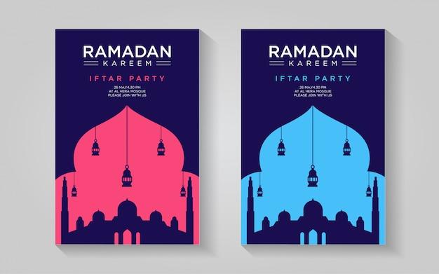 Modello di manifesto del ramadan pulito: semplice rosa chiaro e blu