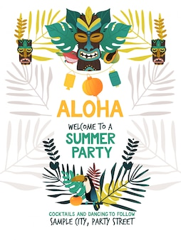 Modello di manifesto dell'invito per la festa estiva hawaiana con simboli tradizionali dell'isola di hawaii di tiki, frutti tropicali e uccelli, fiori e foglie