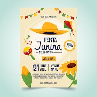 Modello di manifesto design piatto festa junina