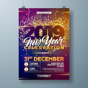 Modello di manifesto di celebrazione del partito di nuovo anno 2019