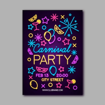 Modello di manifesto di festa di carnevale al neon