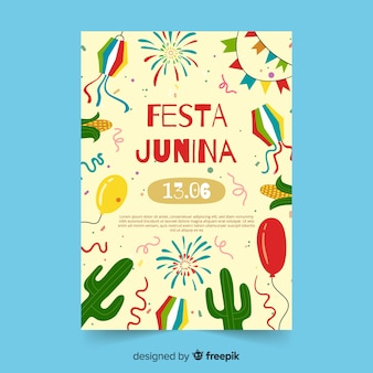 Modello di manifesto di festa junina disegnato a mano