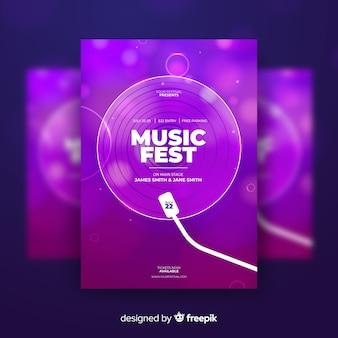 Modello di manifesto di festival di musica astratta colorato