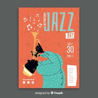 Modello di manifesto di jazz internazionale disegnato a mano