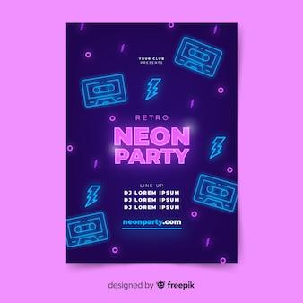 Modello di manifesto di musica al neon luce