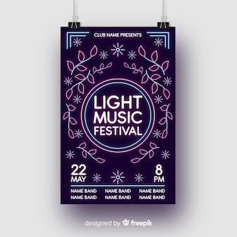 Modello di manifesto di musica di luci al neon