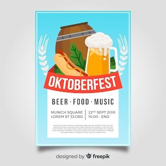 Modello di manifesto di oktoberfest con design piatto