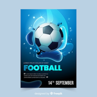 Modello di manifesto di pallone da calcio realistico