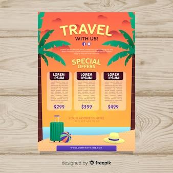 Modello di manifesto di viaggio in spiaggia