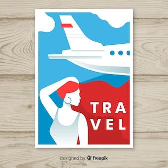 Modello di manifesto di viaggio vintage piatto