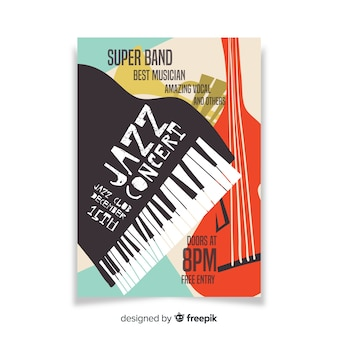 Modello di manifesto disegnato a mano astratto jazz