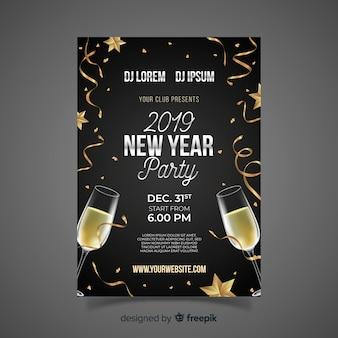 Modello di manifesto festa di champagne realistica del nuovo anno