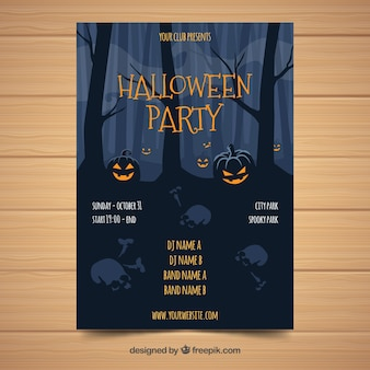 Modello di manifesto festa di halloween formidabile con design piatto