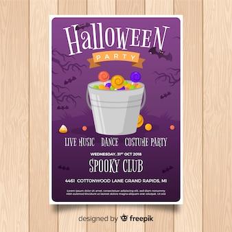 Modello di manifesto festa di halloween originale con design piatto
