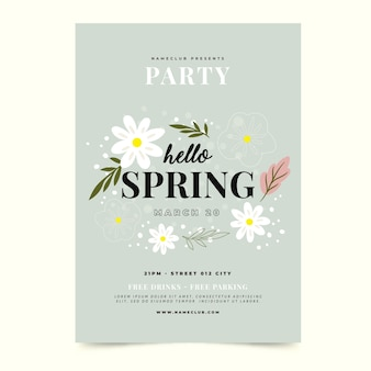 Modello di manifesto festa di primavera disegnata a mano