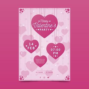 Modello di manifesto festa di san valentino design piatto