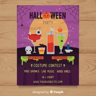 Modello di manifesto festa in costume di halloween impostato in design piatto