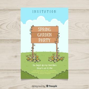 Modello di manifesto festa in legno segno di primavera