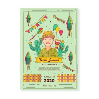 Modello di manifesto festa junina disegnata a mano