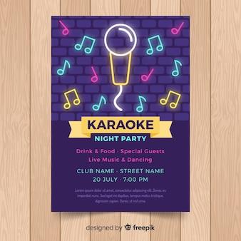 Modello di manifesto festa karaoke piatto