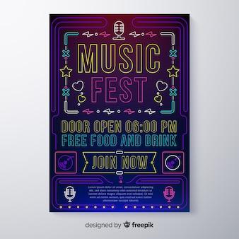 Modello di manifesto festival di musica al neon