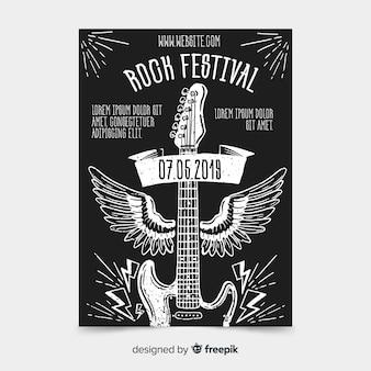 Modello di manifesto festival di musica rock