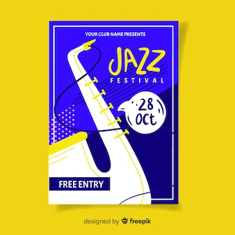 Modello di manifesto festival jazz disegnato a mano