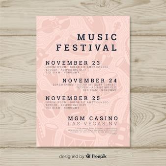 Modello di manifesto festival musica disegnata a mano