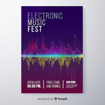 Modello di manifesto festival musica elettronica astratta