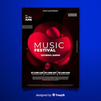 Modello di manifesto festival musicale con effetto liquido