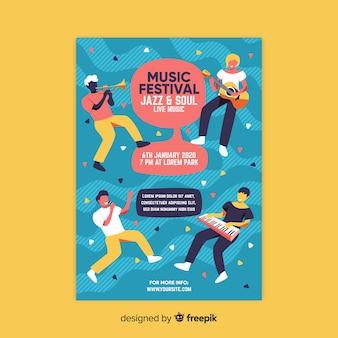 Modello di manifesto festival musicale disegnato a mano