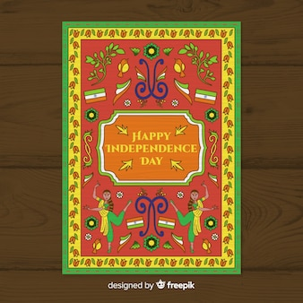 Modello di manifesto giorno dell'indipendenza in stile arte indiana