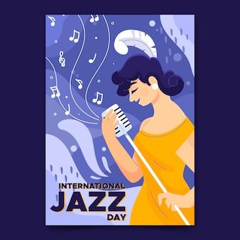 Modello di manifesto giorno jazz internazionale disegnato a mano