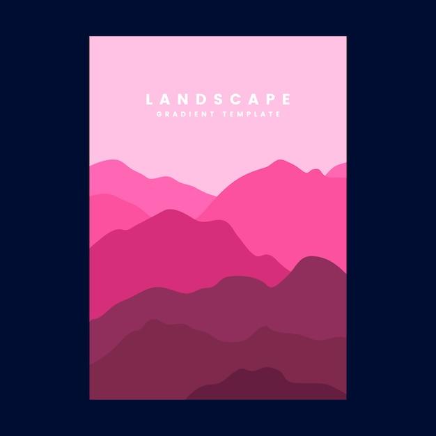 Modello di manifesto gradiente di paesaggio colorato