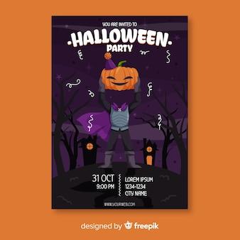Modello di manifesto halloween cavaliere senza testa