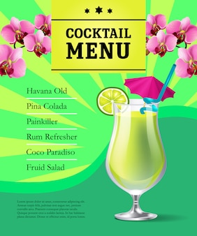 Modello di manifesto menu cocktail. bevanda fredda in vetro e fiori di orchidea