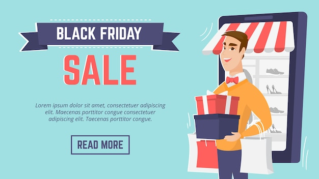 Modello di manifesto moderno di vendita di black friday.