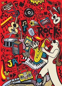 Modello di manifesto musicale di scarabocchi disegnati a mano. musica astratta